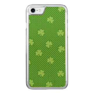 Green Shamrock Clover Pattern Saint Patricks Day Carved iPhone 8/7 Case