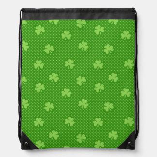 Green Shamrock Clover Pattern Saint Patricks Day Drawstring Bag