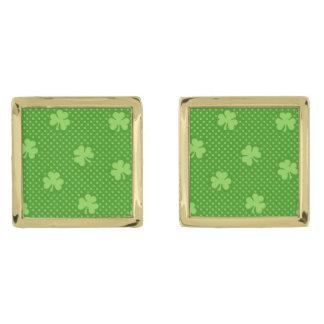 Green Shamrock Clover Pattern Saint Patricks Day Gold Finish Cufflinks