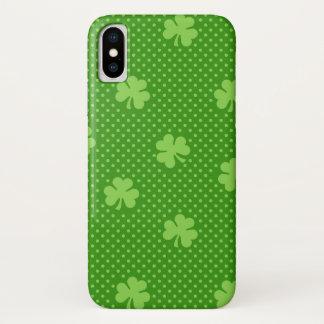 Green Shamrock Clover Pattern Saint Patricks Day iPhone X Case