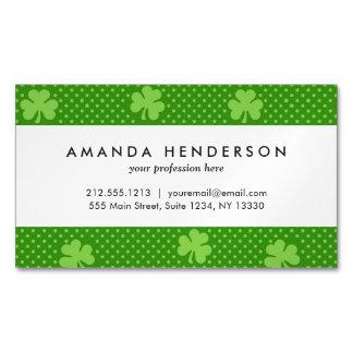 Green Shamrock Clover Pattern Saint Patricks Day Magnetic Business Card