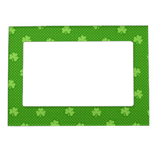 Green Shamrock Clover Pattern Saint Patricks Day Magnetic Frame