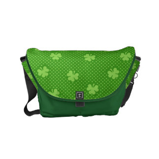 Green Shamrock Clover Pattern Saint Patricks Day Messenger Bag