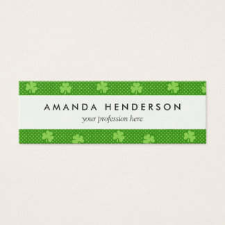 Green Shamrock Clover Pattern Saint Patricks Day Mini Business Card