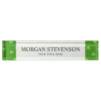 Green Shamrock Clover Pattern Saint Patricks Day Name Plate