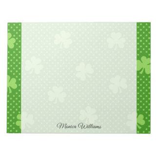 Green Shamrock Clover Pattern Saint Patricks Day Notepad