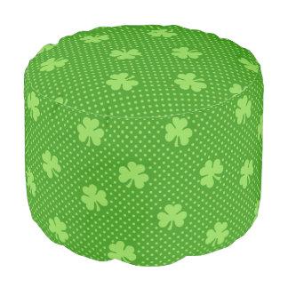 Green Shamrock Clover Pattern Saint Patricks Day Pouf