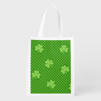 Green Shamrock Clover Pattern Saint Patricks Day Reusable Grocery Bag