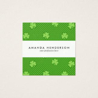 Green Shamrock Clover Pattern Saint Patricks Day Square Business Card