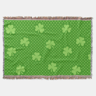 Green Shamrock Clover Pattern Saint Patricks Day Throw Blanket