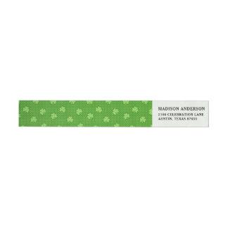 Green Shamrock Clover Pattern Saint Patricks Day Wrap Around Label