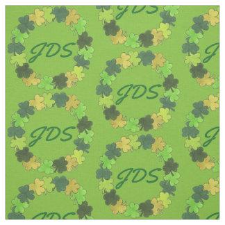 Green Shamrock Clover Wreath Monogram Irish Fabric