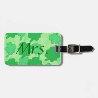 Green Shamrock Collage, Mrs. Luggage Tags