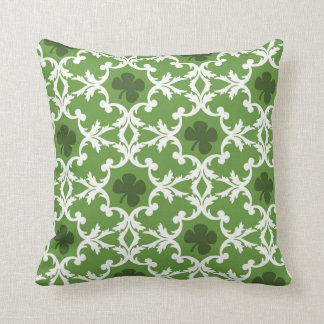 Green Shamrock Damask Cushion