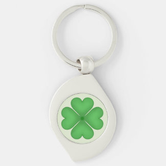 Green Shamrock Four leaf Clover Hearts Key Chain