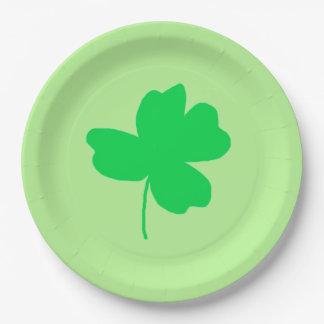 Green Shamrock Four Leaf Clover Light Green Plates