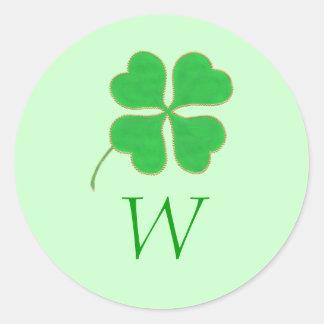Green Shamrock Gold Dots Monogram Wedding Seals Round Sticker
