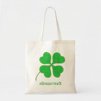 Green Shamrock gold dots trim canvas bags
