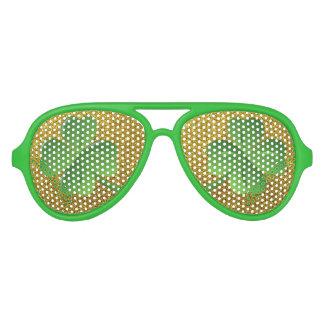 Green Shamrock Gold Glitter Saint Patrick's Day Aviator Sunglasses