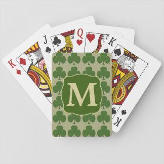 Green Shamrock Gold Monogram Playing Cards