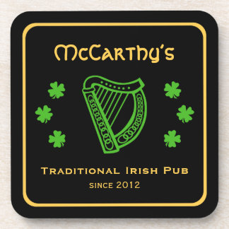 Green shamrock harp custom family name Irish pub Coaster
