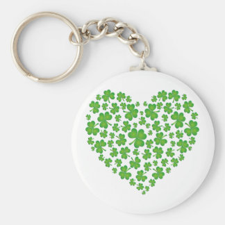 Green Shamrock Heart Keychain