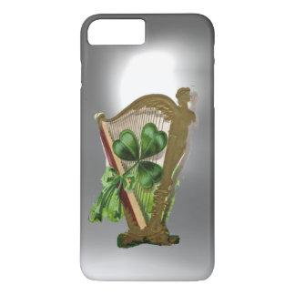 GREEN SHAMROCK IRISH HARP White Grey iPhone 8 Plus/7 Plus Case