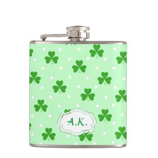 Green shamrock Irish St. Patrick's day pattern Hip Flask