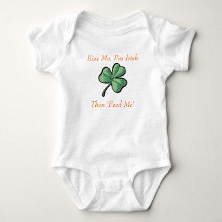green shamrock, Kiss Me, I'm Irish, Then 'Feed Me' Baby Bodysuit