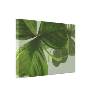 Green Shamrock Leaves Collage Canvas Print