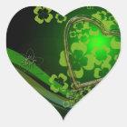 Green shamrock love heart sticker