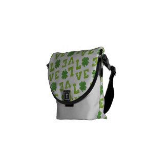 Green Shamrock Love Messenger Bags
