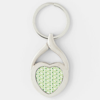 Green Shamrock Love Silver-Colored Twisted Heart Keychain