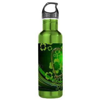 Green shamrock love 24oz water bottle