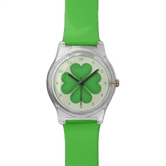 Green Shamrock Lucky Four leaf Clover Hearts Watch