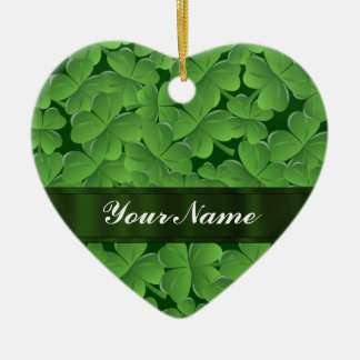 Green shamrock pattern ceramic ornament