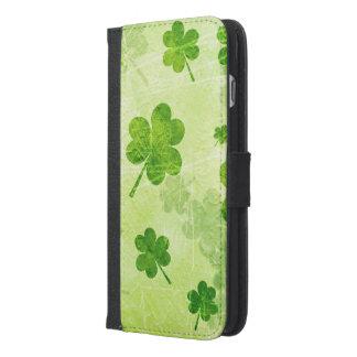 Green Shamrock Pattern iPhone 6/6s Plus Wallet Case