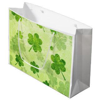 Green Shamrock Pattern Large Gift Bag