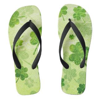 Green Shamrock Pattern Thongs