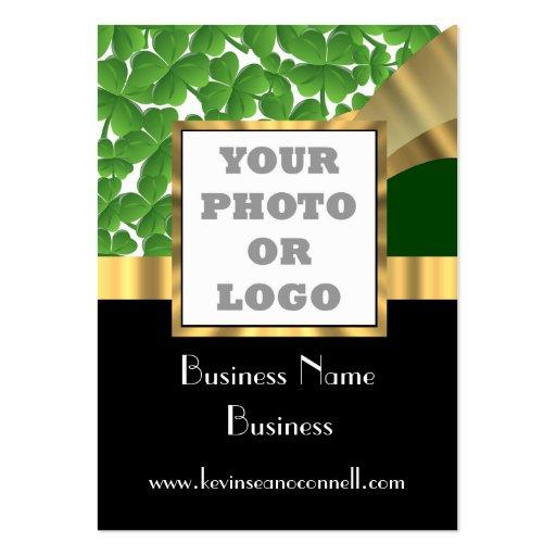 Green shamrock photo logo business cards