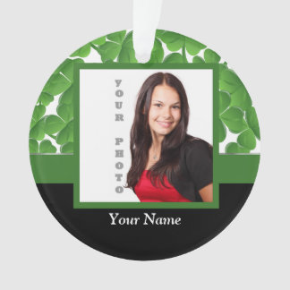 Green shamrock photo template ornament