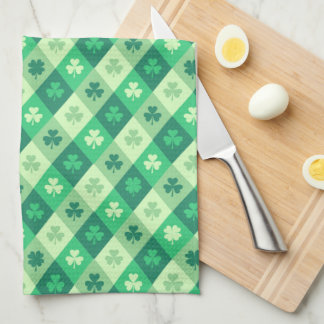 Green Shamrock Saint Patricks Day Custom Text Tea Towel