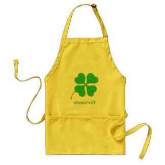 Green Shamrock trimmed in Gold Dots aprons