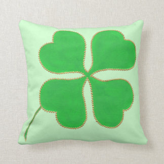Green Shamrock trimmed in gold dots, pillow Throw Cushions