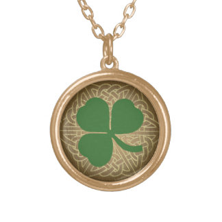 Green Shamrock w/Celtic Knot Pendant Necklace
