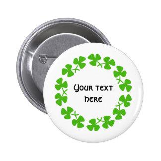 Green Shamrocks Border Add Text 6 Cm Round Badge
