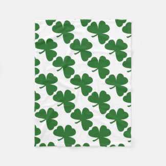Green Shamrocks Clover Pattern St. Patrick's Day Fleece Blanket
