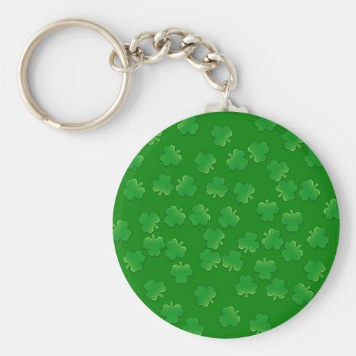 green shamrocks on green background pattern keychains