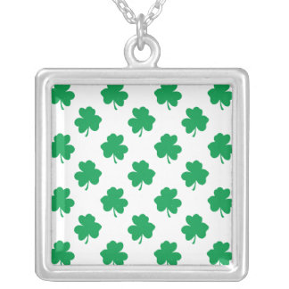 Green Shamrocks on White St.Patrick's Day Clover Personalized Necklace