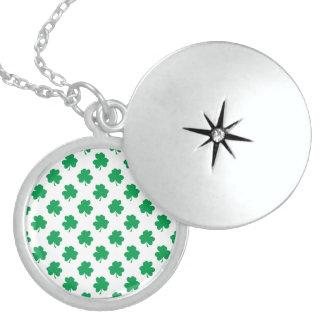 Green Shamrocks on White St.Patrick's Day Clover Lockets